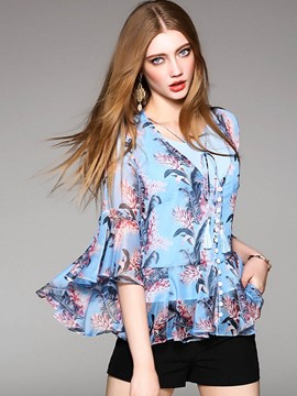 Ericdress Bell Sleeve V-Neck Print Blouse