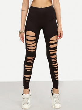 EricdressWorn-Out Plain Leggings Pants