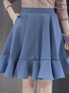 Ericdress Knee-Length Falbala Usual Skirts