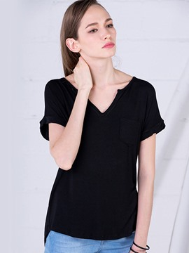 Ericdress V-Neck Plain Loose T-shirt