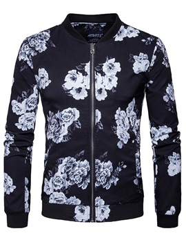 Ericdress Stand Collar Flower Print Zip Casual Men's Jacket