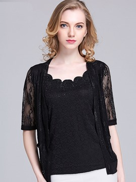 Ericdress Plus-Size Lace Half Sleeve Jacket