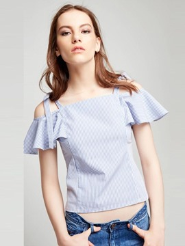 Ericdress Stripe Cold Shoulder Ruffle Sleeve Short Blouse