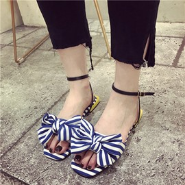 Ericdress Sweet Strips Print Ankle Strap Flat Sandals