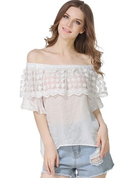Ericdress Lace Bell Sleeve Hollow Off-Shoulder Blouse