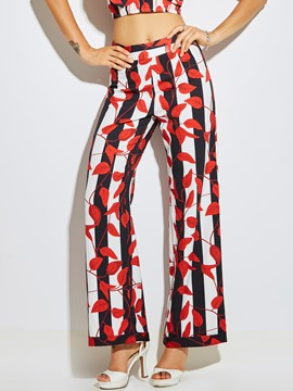 Ericdress Print Striped Wide Legs Pants