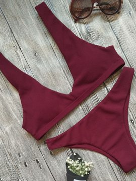Ericdress Simple Plain V-Neck Bikini Set