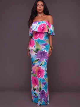 Ericdress Floral Slash Neck Ruffles Maxi Dress