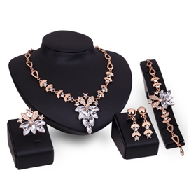 Ericdress Splendid White Sapphire Flower Jewelry Set