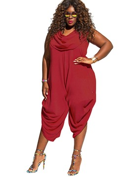 Ericdress Plus Size Pure Patchwork Color Pleated Women's Jumpsuits