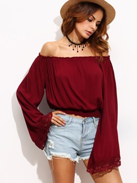 Ericdress Slash Neck Plain Lace Bell Sleeve T-shirt