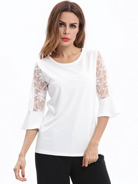 Ericdress Lace Bell Sleeve Hollow T-shirt