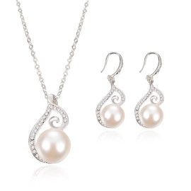 Ericdress Pearl Pendant Diamante Jewelry Set for Women