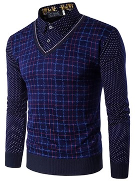 Ericdress Double-Layer Patchwork Polka Dots Long Sleeve Men's Sweater