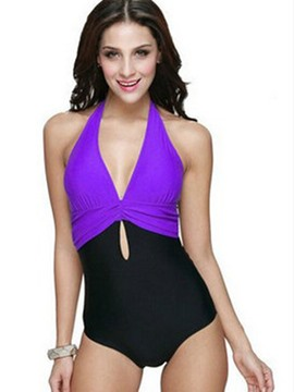 Ericdress Sexy Deep V-Neck Color Block Monokini
