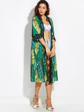 Ericdress Thin Color Block Plant Print Women's Cape