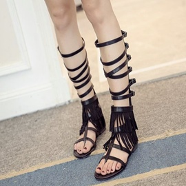 Ericdress Roman Cut Out Clip Toe Flat Sandals