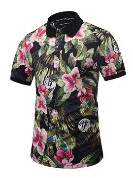 Ericdress Flower Print Short Sleeve Casual Men's Shirt