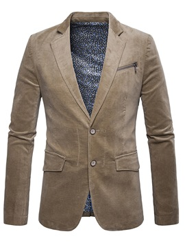Ericdress Plain Corduroy Zip Pocket Patched Vogue Slim Men's Blazer