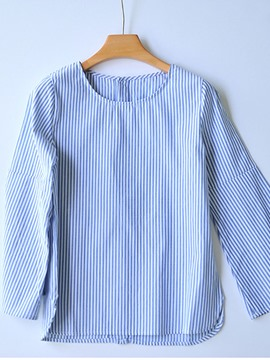 Ericdress Bell Sleeve Polo Neck Stripe Blouse