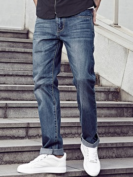 Ericdress Straight Leg Denim Zip Slim Men's Jeans
