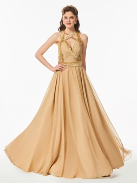 Ericdress A Line Halter Beaded Backless Long Prom Dress