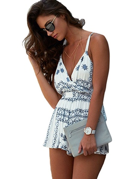 Ericdress Vintage Floral Backless One Piece Swimwear