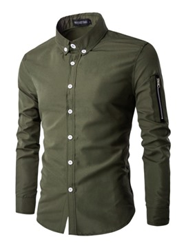 Ericdress Plain Long Sleeve Zip Patched Vogue Men's Shirt