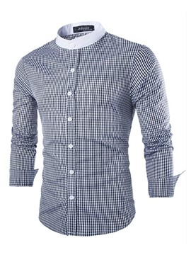 Ericdress Plaid Stand Collar Patched Long Sleeve Men's Shirt