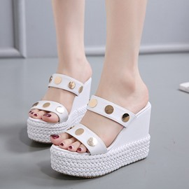Ericdress PU Platform Rivets Decorated Mules Shoes