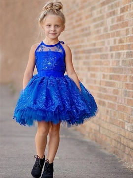 Ericdress Halter Appliques Short Flower Girl Party Dress