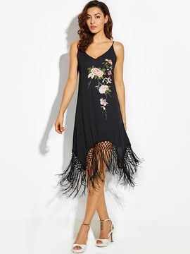 Ericdress Flower Embroideried Tassel Patchwork A-Line Dress