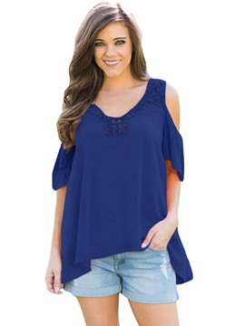Ericdress Hollow Plain Cold Shoulder Mid-Length Blouse