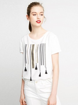 Ericdress Tassel Round Neck Short Sleeve T-shirt
