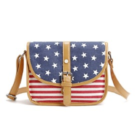 Ericdress Color Block Stars And Stripes Crossbody Bag