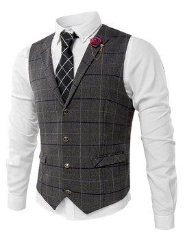 Ericdress Plaid Pocket Single-Breasted Men's Vest