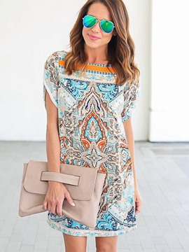 Ericdress Print Petal Short Sleeve Mini Casual Dress