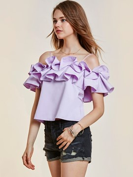 Ericdress Plain Off Shoulder Ruffle Sleeve Blouse