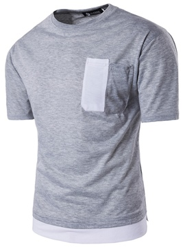 Ericdress Color Block Pocket Patched Casual Men's T-Shirt