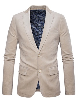 Ericdress Plain Corduroy Pocket Slim Men's Blazer