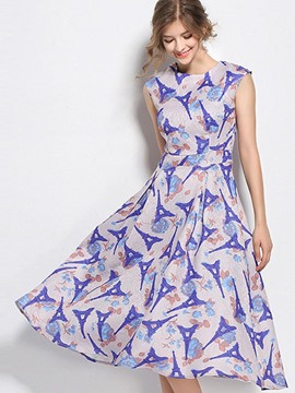 Ericdress Sweet Print Expansion Sleeveless A Line Dress