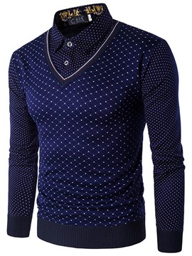 Ericdress Polka Dots Double-Layer Patched Long Sleeve Men's Shirt