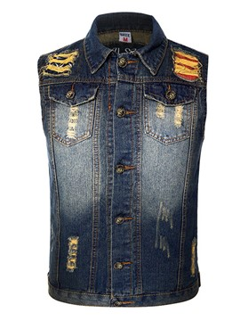 Ericdress Holes Denim Single-Breasted Casual Men's Vest