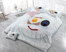 3D Love Breakfast Heart Shape Smelling Cotton 4-Piece Bedding Sets/Duvet Cover