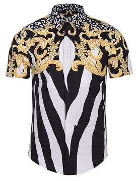 Ericdress Unique Court Style Print Stripe Men's Shirt