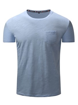 Ericdress Plain Pocket Patched Short Sleeve Men's T-Shirt