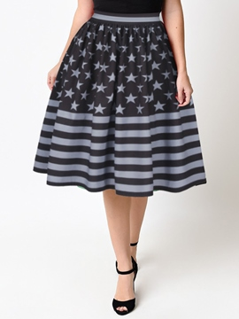 Ericdress Knee-Length Print Usual Skirts