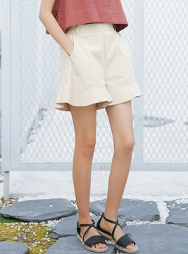 Ericdress High-Waist Ruffles Wide Legs Shorts Pants