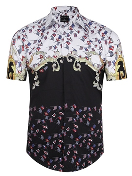Ericdress Vintage Unique 3D Short Sleeve Print Men's Shirt