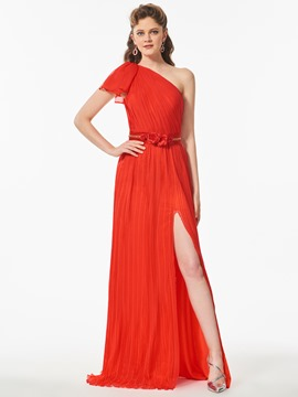 Ericdress One Shoulder Pleats Side Slit Long Prom Dress